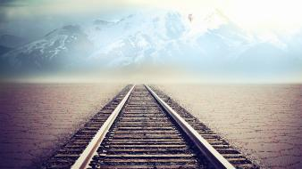 Artwork landscapes mountains nature railroad tracks Wallpaper