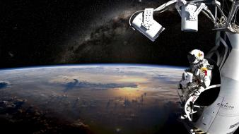 Astronauts photomanipulation felix baumgartner red bull stratos wallpaper