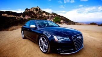 Black side view german audi s8 auto wallpaper