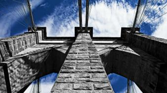 Bridges brooklyn bridge blue skies stone buildings wallpaper