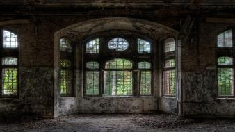 Buildings interior window panes abandoned multiscreen spaces wallpaper