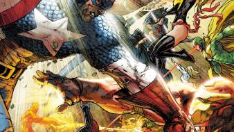 Captain america battles human torch cyclops marvel Wallpaper