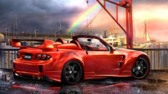 Cars design mazda tuning red 3d wallpaper