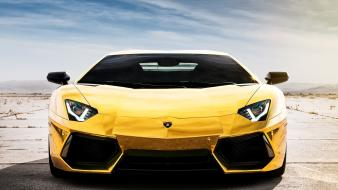 Cars italian luxury sport yellow lamborghini aventador lp700-4 wallpaper