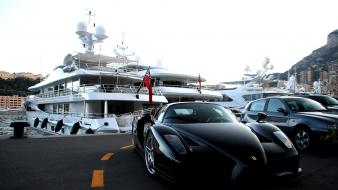 Cars monaco parking yachts ferrari enzo port black wallpaper