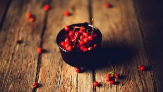 Cherries bowls depth of field wooden floor wallpaper