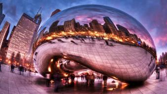 Chicago mirrors glass buildings sculpture reflections wallpaper