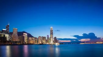 Cityscapes buildings hong kong reflections wallpaper