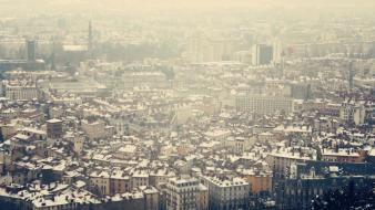 Cityscapes france fog buildings wallpaper