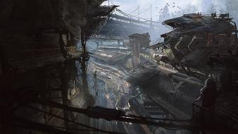 Cityscapes futuristic dystopia digital art science fiction artwork Wallpaper