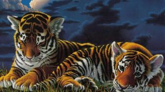 Clouds animals tigers cubs artwork 3d skyscapes wallpaper