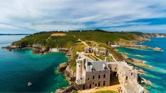 Coast castles france bing sea wallpaper