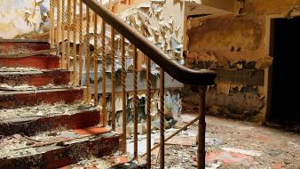 Dual screen buildings stairways interior abandoned multiscreen doors wallpaper