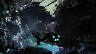 Futuristic mechanical spaceships science fiction artwork wallpaper