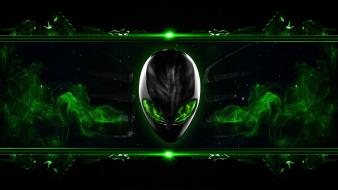 Green alienware digital art alien Wallpaper