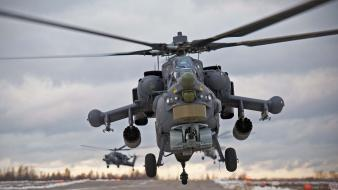Helicopters gray rockets armored vehicle mil mi-24 Wallpaper