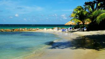 Landscapes beach rocks jamaica chairs palm trees wallpaper