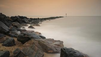 Landscapes nature coast stones fog cover veil sign wallpaper