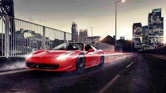 Lights cars ferrari buildings roads 458 italia cities wallpaper