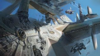Machines spaceships science fiction transports squad skyscapes wallpaper