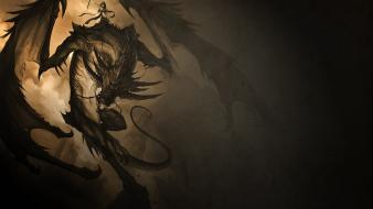 Mage dragons fantasy art wallpaper