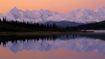 Mountains landscapes nature trees alaska lakes reflections Wallpaper