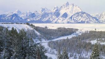 Mountains landscapes snow wyoming wallpaper