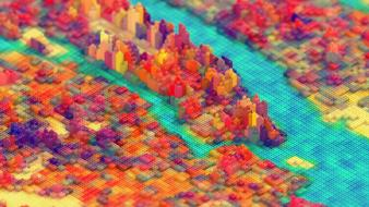 Multicolor cities legos wallpaper