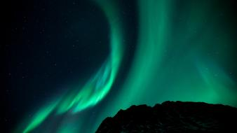 Nature night stars hills aurora skyscapes wallpaper