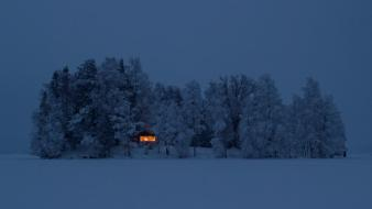 Night sweden houses fog europe islands evergreens wallpaper
