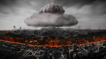 Nuclear smoke buildings atom armageddon bomb cities wallpaper