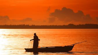 Orange fishing evening wallpaper
