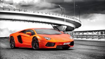 Orange supercars selective coloring lamborghini aventador wallpaper