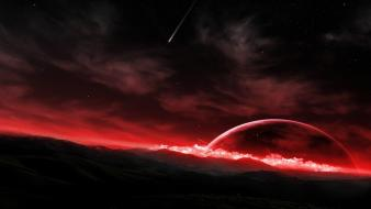 Outer space planets moon meteorite Wallpaper