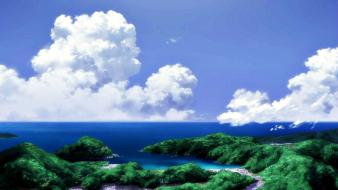 Paintings ocean clouds trees medow natsuiro kiseki skies wallpaper
