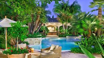 Palm trees hdr photography swimming pools wallpaper