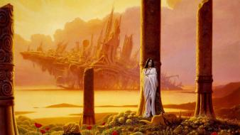 Pillars white dress michael whelan red flowers wallpaper