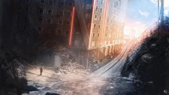 Ruins figure escape roads artwork apocalyptic cities wallpaper