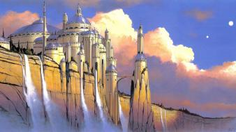 Science fiction artwork waterfalls traditional art palace wallpaper