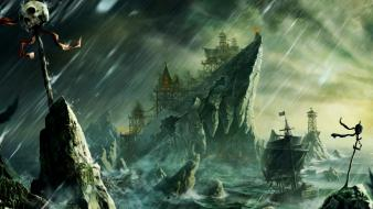 Ships artwork drawings rock islands desolate beacon wallpaper