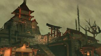 Steampunk rendered japanese architecture wallpaper