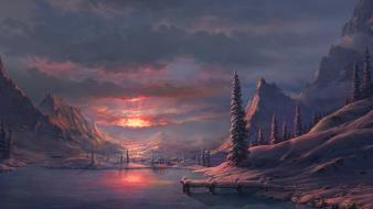 Sunset ice mountains winter snow trees artwork evening wallpaper