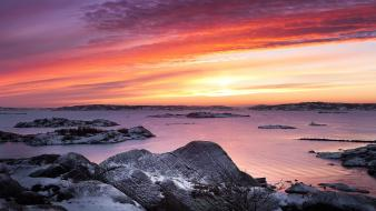 Sunset landscapes nature snow beach sweden rocks evening wallpaper
