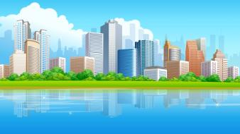 Vector urban city skyline highrise wallpaper