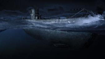 War night submarine digital art shift u-boat wallpaper