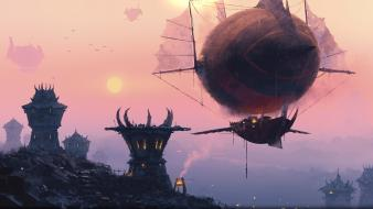 World of warcraft fantasy art artwork zeppelin wallpaper