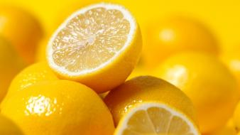 Yellow fruits lemons wallpaper