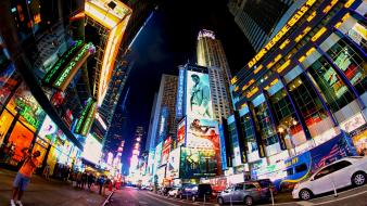 York city times square fisheye effect theatre Wallpaper