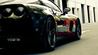 Cars chevrolet corvette american flag Wallpaper