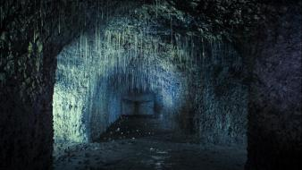 Cave cityscapes stalactites abandoned Wallpaper